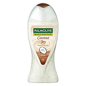 Palmolive Coconut Joy Body Wash, Crème Based Exfoliator with Real Apricot Seeds and Jojoba Butter Extracts - pH Balanced, No Parabens, No Silicones, 250ml Bottle