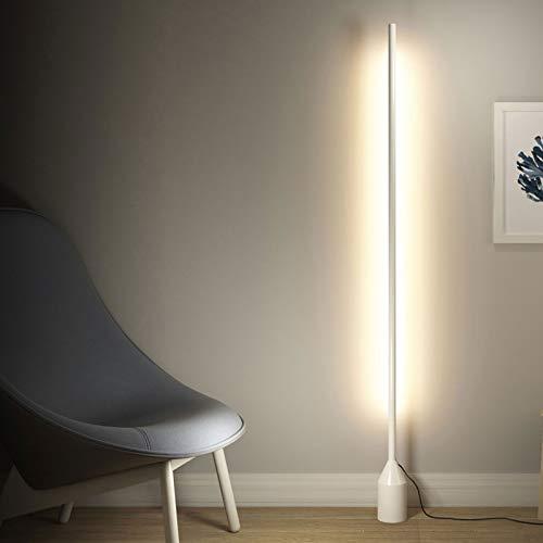 Bueuwe Lampadaire LED, Lampe sur Pied à Lecture Variable 16W avec télécommande 3000K-6500K Lampadaire d'angle pour Chambre à Coucher, Salon, Bureau, H 168cm,Blanc