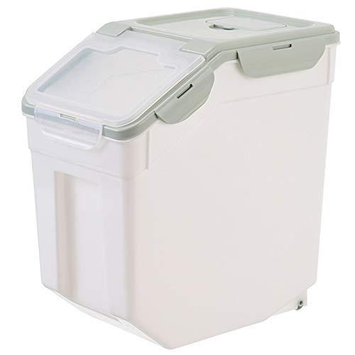 DZX Caja de Almacenamiento Verde de Comida para Perros Grande Cubo Sellado Contenedor de Comida para Mascotas a Prueba de Humedad Barril de Grano Dispensador de Comida Seca Alimentador, Caja de