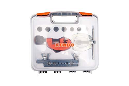 KENDO Rohrbördelwerkzeug Set – 7 Stempel, 5 – 16 mm - 11 teillig - mit Mini-Rohrschneider 3 – 30 mm – Bördelgerät – für Messing-, Kupfer und Aluminiumrohre