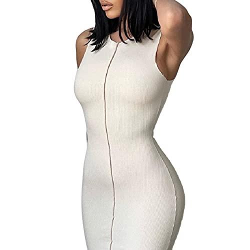 HANSENG Vestido largo para mujer, sin mangas, con cuello redondo, color blanco sólido, para club, para mujer
