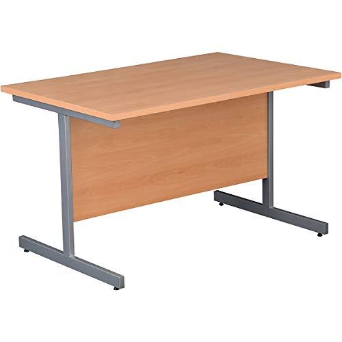Certeo Rechteckiger Besprechungstisch BxTxH 1200 x 800 x 730 mm Untergestell Silber Buche Karbon Mehrzwecktisch Konferenztisch Möbel für Meeting