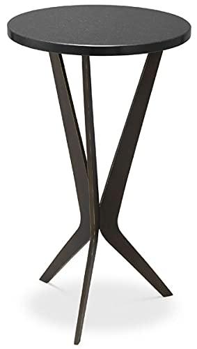 Casa Padrino Mesa Auxiliar de Lujo Negro/Bronce Ø 30,5 x A. 52 cm - Mesa Redonda con Tapa de Granito y Patas de Metal - Muebles de salón - Muebles de Lujo