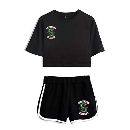 Women's Crop Top Shorts 2pcs Set Riverdale South Side Serpents Summer Casual Girls Sportswear Yoga Fitness Clothes,Black+Black-XS