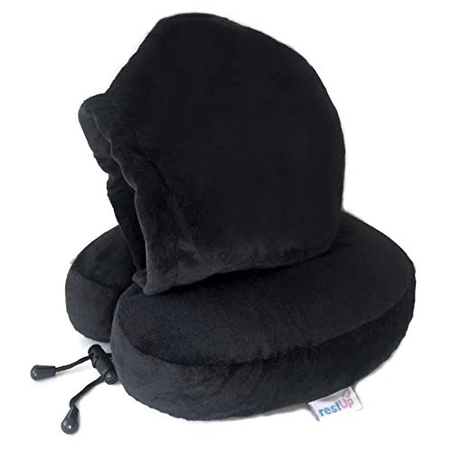 RestUp Travel Pillow   Perfect Support for Head, Chin and Neck - Super Soft Velour with Memory Foam   One Size for Adults & Kids - (Black) UK Company