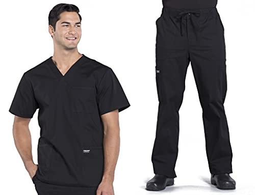 Workwear Professionals Men Scrubs Set V-Neck Top WW695 & Drawstring Pant WW190 (Black, M/M)