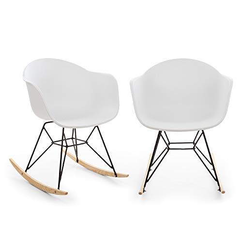 Blumfeldt Skandi schommelstoel - set van 2, materiaal schaal: polypropyleen, materiaal poten: ijzer met matte afwerking, schommelgeleiders van eikenhout, UV-bestendig, max.Laadvermogen: 150kg, wit