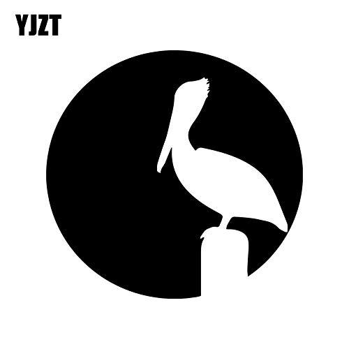 JYIP 16.1CM*15.6CM Fashion Animal Bird Pelican Sunset Silhouette Vinyl Car-styling Car Sticker Decal Black/Silver C11-1024 Silver