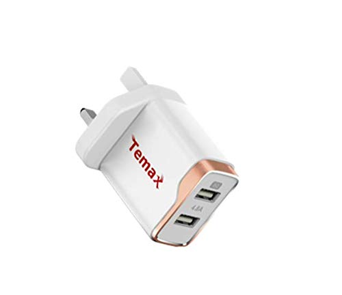 Temax Dual ports 4.8A wall charger UK plug, 18 Month Warranty (White)