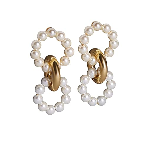 QZH Joyería novedosa, Pendiente para Regalos de Mujer, Perla de imitación Redonda Bohemia Pendiente de Oreja Grande Accesorio de joyería de Moda Blanco