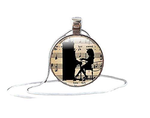 Musikschmuck, Geschenke für Musikliebhaber Silberanhänger Geschenk für Musikliebhaber, Mädchen mit Klavier-Halskette mit Musiknoten