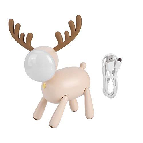 Schattige herten vormige nachtlampje LED tafellamp USB opladen voor Kid Bedroom Decor lezen(Mousse kleur)