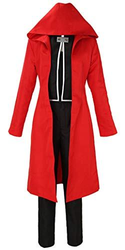 Wish Costume Shop Mens Fullmetal Alchemist Edward Elric Cosplay Costume Halloween Jacket Outfit (M, Red Cloak Only)
