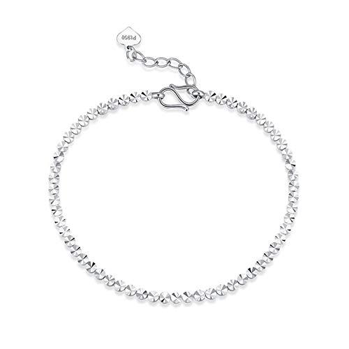 Aartoil Hermosa pulsera de platino para mujer, pulsera de cuentas de plata