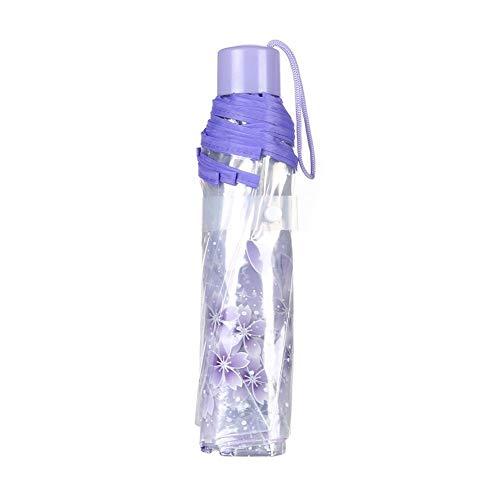 Hacoly Kirschblüte Transparent Regenschirm Kunststoff durchsichtig Taschenschirm automatischem Knopf Sturmfest Schirm mit Lanyard, klein, leicht kompakt, windsicher, stabil,23cm - Lila