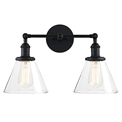Pathson Industrial Wall Sconce Light Fixture, 2 Light Wall Lighting with Modern Glass Shade and Metal Base