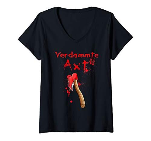 Damen lustiges Halloween Kostüm - Verdammte Axt - Halloween Horror T-Shirt mit V-Ausschnitt