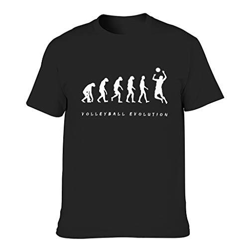 Men's Volleyball Evolution Cotton T-Shirts - Holiday Short Sleeve Shirt - Black - XXXXX-Large
