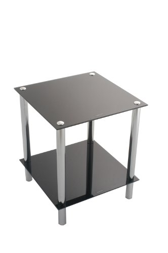 ASPECT Matrix 2-TierBlack Glass Shelving Rack/Side End table