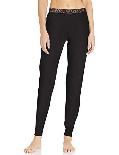 Emporio Armani Damen Stretch Cotton Pants with Cuffs Pyjamahose, schwarz, X-Small