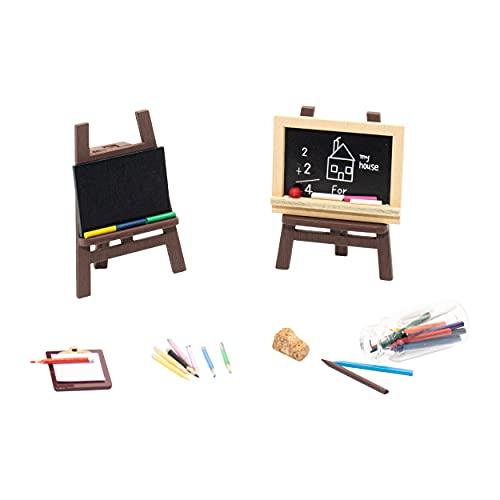 26 Pcs Dollhouse Miniature School Study Office Scene Set Miniature Wooden Easel Blackboard Clipboard Crayons and Colored Pencils Miniature Furniture Art Study Supplies for 1:12 Dollhouse Decor