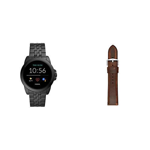 Fossil Connected Smartwatch Gen 5E para Hombre con tecnología Wear OS de Google, frecuencia cardíaca, GPS, NFC y notificaciones smartwatch, Acero Inoxidable Negro + Correa de Reloj S221299