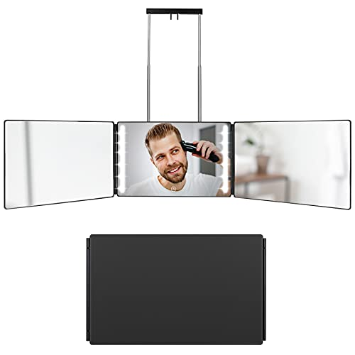 3 Way Mirror for Hair Cutting, Self-Cut System with LED Light Rechargeable 360 Degree Mirror with Height Adjustable Telescoping Hooks