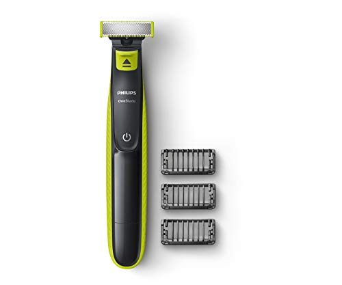 Philips QP2525/10 Cordless OneBlade Hybrid Trimmer and Shaver with 3 Trimming Combs (Lime Green)