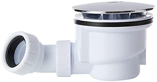 Trueshopping WAS90 VeeBath Essentials 90mm Fast Flow Easy Clean Shower Enclosure Tray Waste Trap, Chrome