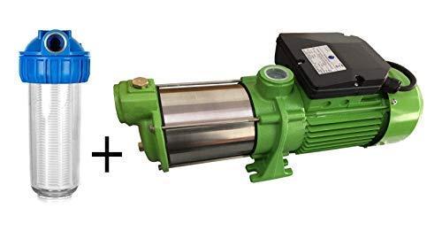 CHM Set bestaande uit voorfilter + centrifugaalpomp tuinpomp INOX HMC145 INOX - Vermogen: 1100 W - spanning: 230 V / 50 Hz 9000 l/h - 150 l/min. 5 bar. Wieltjes van roestvrij staal - roestvrijstalen as.
