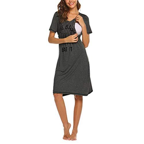 STRIR Camisón Lactancia Hospital Mujer Pijama Maternidad Manga Corta Camison Embarazada Encaje Ropa para Dormir Premamá Verano (M, Gris Oscuro)
