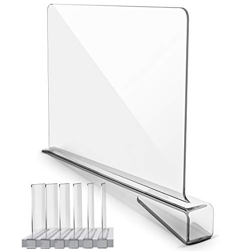 Premium Acrylic Shelf Dividers for Closets - Crystal Clear Shelf Divider for Home Storage Organization - Closet Shelf Divider for Kitchen Cabinets Bedroom Office Shelving - Acrylic Shelf Dividers (6)