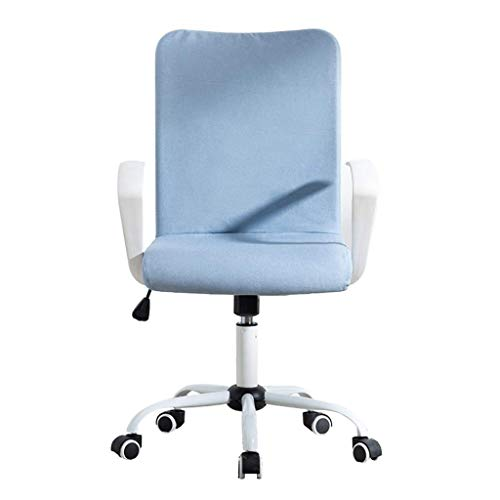 Desk Task Computer Chair - Modern Fabric Low Back Office Chair with Adjustable Height, for Reception Dinning Conference Room (Color : Blue)