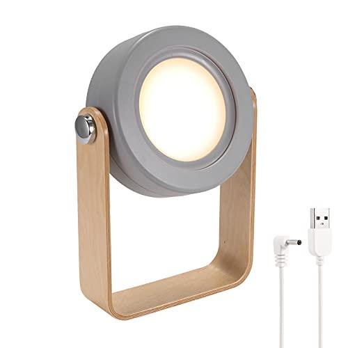 AHNUNVA Lámpara de mesa telescópica, luz de noche LED para cabecera, lámpara de lectura portátil, lámpara de linterna con mango de madera, lámpara de escritorio plegable para oficina en casa
