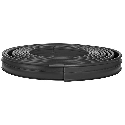 Suncast Professional Landscape Edging Roll - Plastic Lawn, Garden, and Flower Bed Edging and Landscape Border with Double Ridge Design - Conforms to Any Shape - 60' Coiled Roll - Black