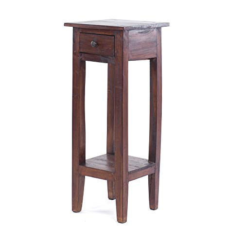 Vintage Design TELEFONTISCH Napoleon 75 | 75x30x30cm (HxLxB), Mahagoniholz Beistelltisch im kolonial Stil, Blumenhocker, Holz Tischchen | Farbe: 03 Dunkelbraun