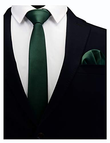 GUSLESON Solid Dark Green Emerald Skinny Tie For Men Classic Slim Necktie and Pocket Square Set (0754-08)