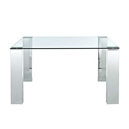Grupo SDM - Mesas de Comedor Modernas - Mesa Betsy Acero Inoxidable/Cristal 160 (160x90x74) ✅