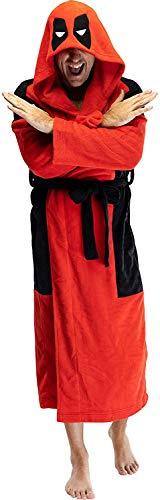 Marvel Deadpool Adult Men's Embroidered Costume Fleece Robe Bathrobe - Standard
