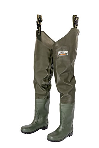 Snowbee Men Granite Pvc Thigh With Cleated Sole Wader - Green (Olive Green), Size 10