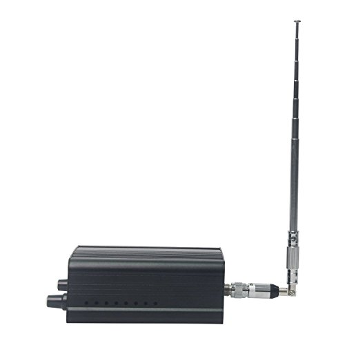 BaseWish 7W 1W FM Transmitter, Mini Radio Stereo Station PLL LCD with Antenna and 3.5mm Audio Cable, for Drive-in Church SuperMarket School, Black