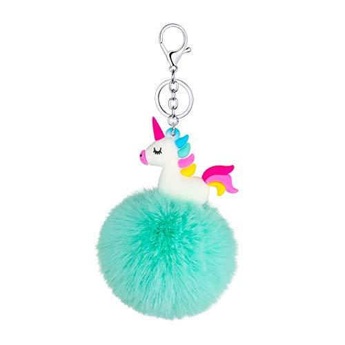 Regalo de pompón Creativo Dibujos Animados Lindo Color plástico Suave Unicornio Bola de Piel Llavero Colgante Llavero Colgante-4