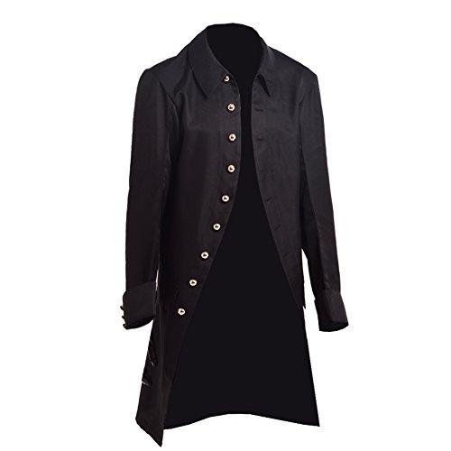 BLESSUME Steampunk Mantel Herren Gothic Viktorianisch Jacke (Black, L)