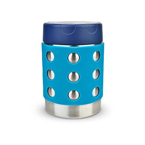 LunchBots Thermal 350 ml Edelstahl Schüssel – Isolierter Nahrungsmittelbehälter hält 6 Stunden lang heiß oder 12 Stunden lang kalt – Auslaufsicherer Suppenbehälter – Dunkelblaue/Aqua