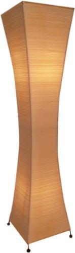 Guru-Shop Stehlampe/Stehleuchte Titania-string- Handgefertigte Designleuchte aus Bali, Natur-weiß, Baumwollfäden, Farbe: Natur-weiß, 118x38x38 cm, Asia Designleuchten