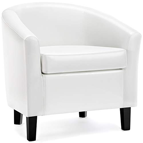 YAHEETECH Accent Chair Barrel Chair Faux Leather Club Chair Arm Chair for Living Room Bedroom Reception Room White