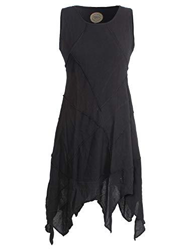 Vishes - Alternative Bekleidung - Armloses Einfarbiges Patchwork Zipfelkleid aus handgewebter Baumwolle schwarz 40