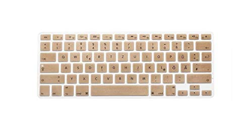 Us Layout German Letters Keyboard Protector For Macbook Air Pro Retina 13' 15' 17' Laptop Skin Covers For Mac Book 13 15 Qwertz-Gold