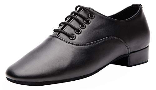 Gogodance Men's Boys Professional Lace-up Black Leather Latin Salsa Tango Ballroom Modern Dance Shoes (8 D(M) US)