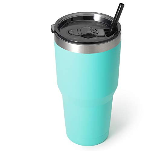 Zibtes 30oz Insulated Tumbler With Lids and Straws, Stainless Steel Double Vacuum Coffee Tumbler Cup, Powder Coated Travel Mug for Home, Office, Travel, Party (Teal, 1 pack)